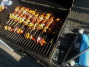 Lamb Skewers for a barbeque. With onions, peppers, and mushrooms. Lamb is rubbed with Salt Lick BBQ rub