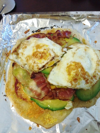 This is the egg, bacon, and avocado pizza.
